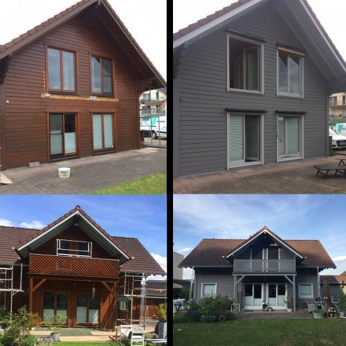 Holzhaus vorher/nacher