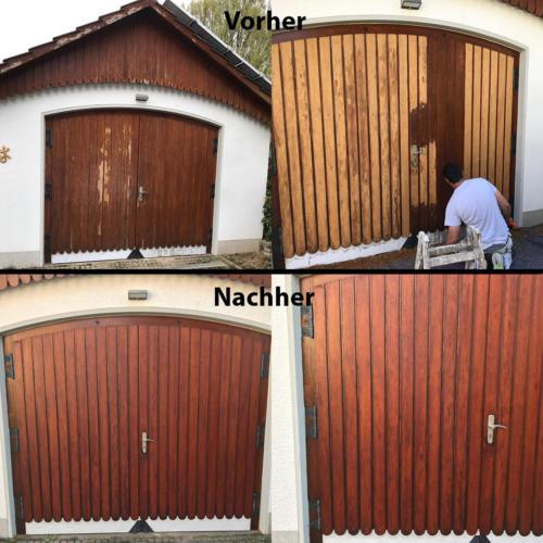 Holz Tor Vorher-Nachher